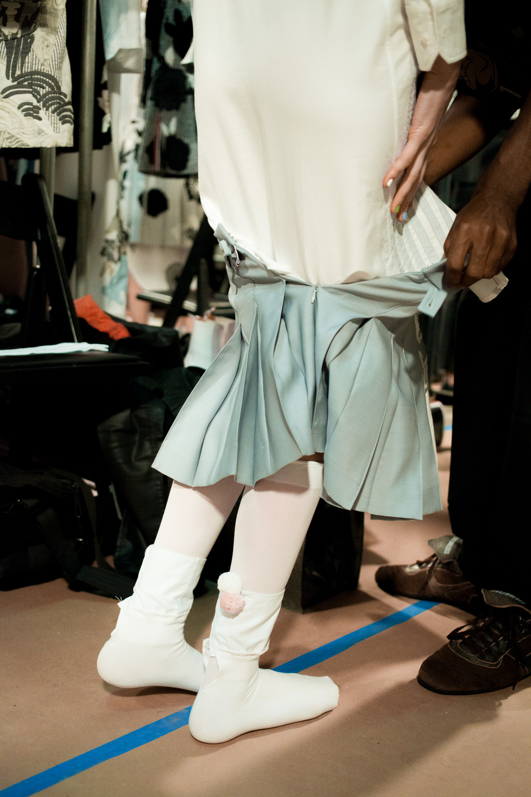 Backstage prior the Thom Browne show as part of the New York Fashion Week Womenswear Spring/Summer 2016 at Skylight Modern on September 14, 2015 in New York City, USA.