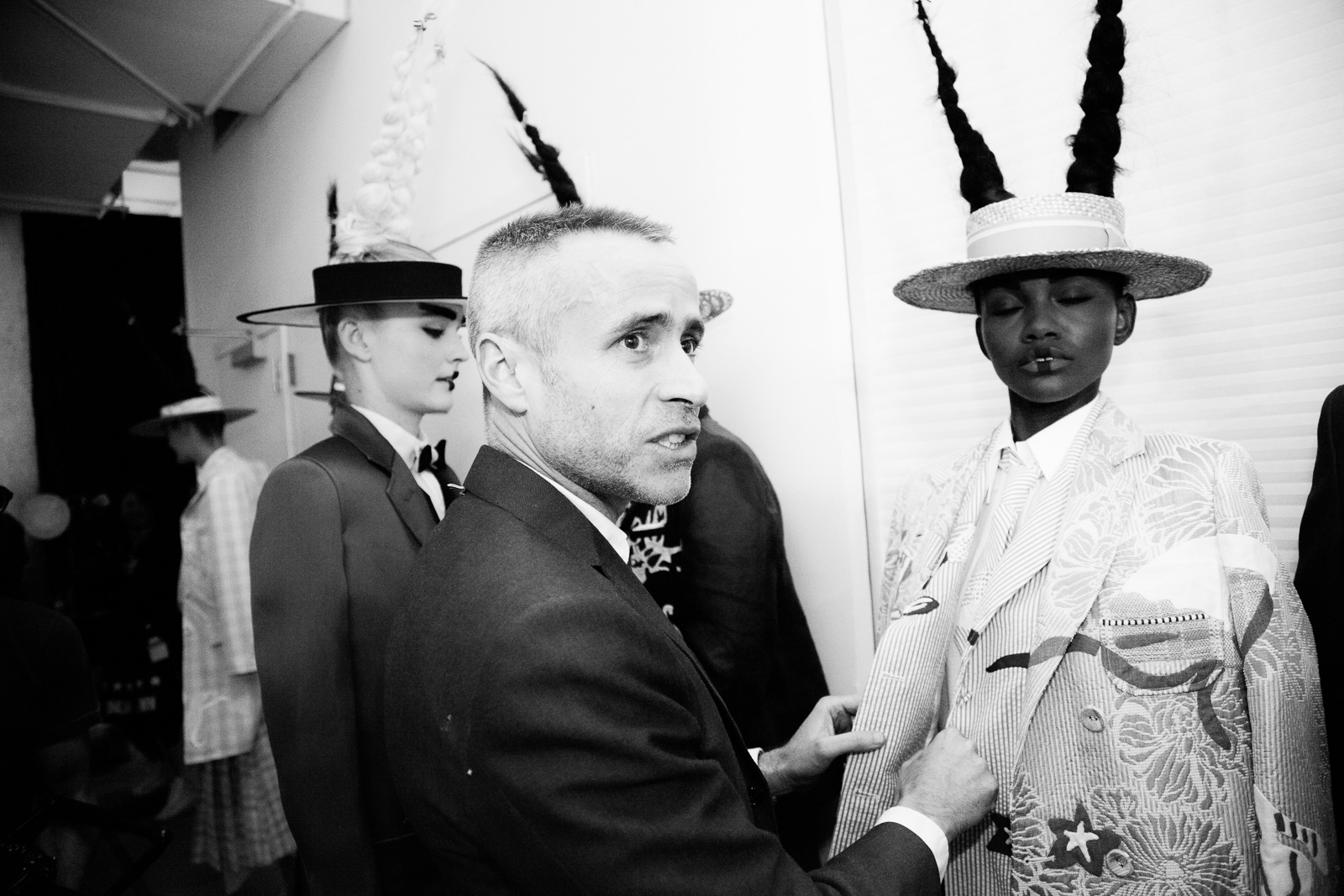 Thom Browne backstage prior the Thom Browne show as part of the New York Fashion Week Womenswear Spring/Summer 2016 at Skylight Modern on September 14, 2015 in New York City, USA.