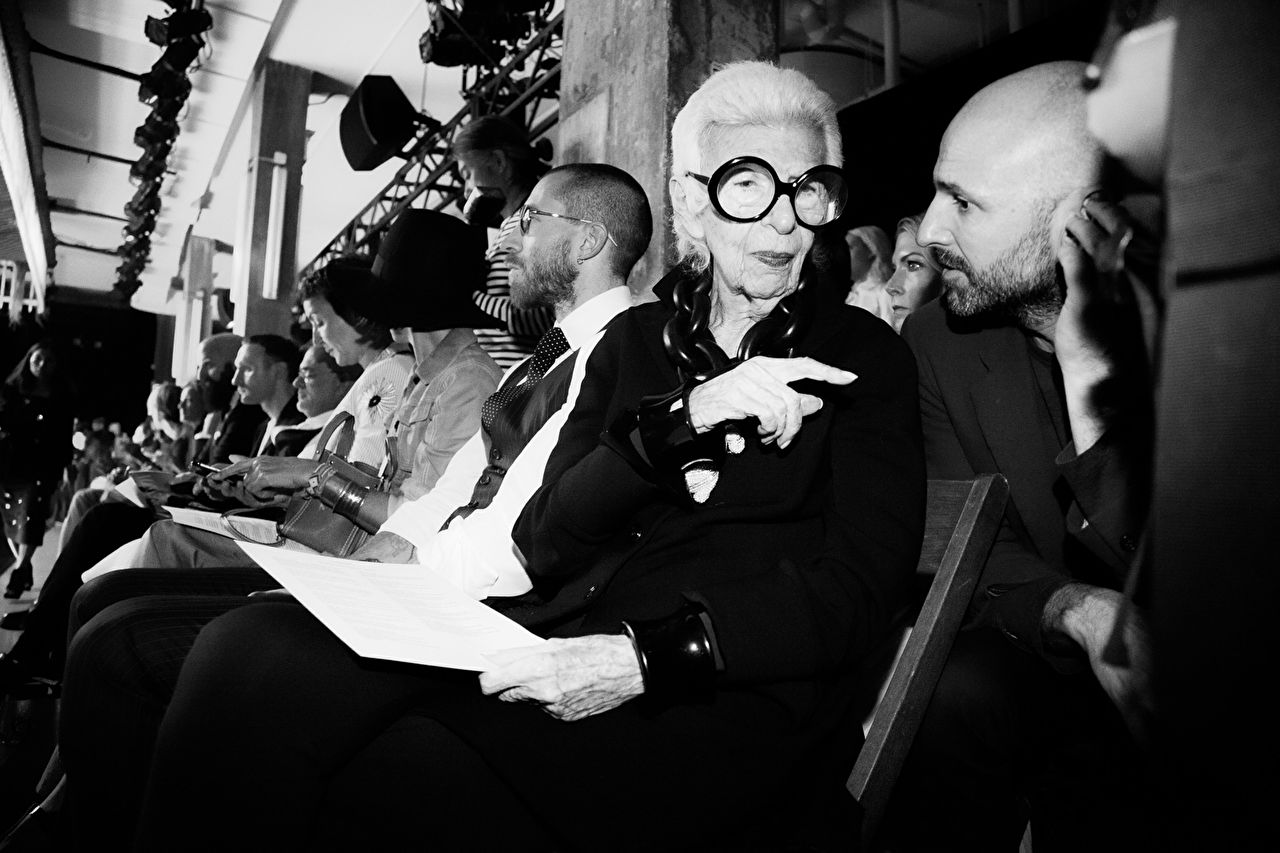 Iris  Apfel at the Thom Browne show as part of the New York Fashion Week Womenswear Spring/Summer 2016 at Skylight Modern on September 14, 2015 in New York City, USA.