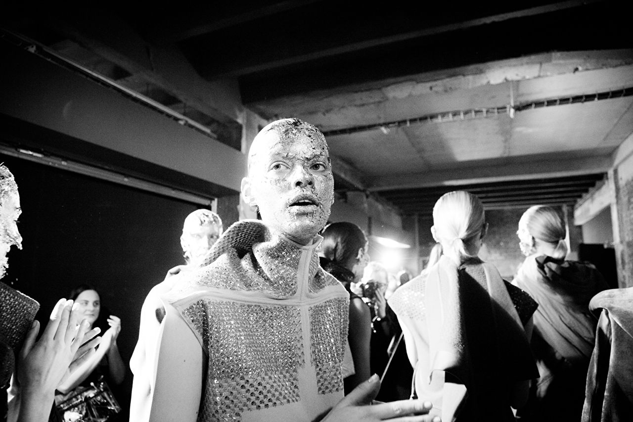 Backstage after the Rick Owens show as part of the Paris Fashion Week Womenswear Fall/Winter 2015/16 at Palais de Tokyo on March 5, 2015 in Paris, France.