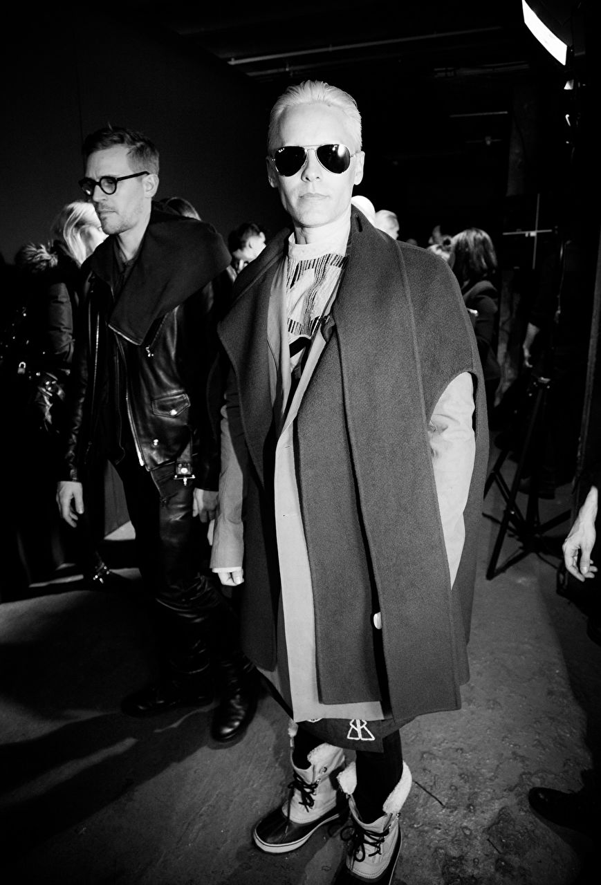 Jared Leto backstage after the Rick Owens show as part of the Paris Fashion Week Womenswear Fall/Winter 2015/16 at Palais de Tokyo on March 5, 2015 in Paris, France.