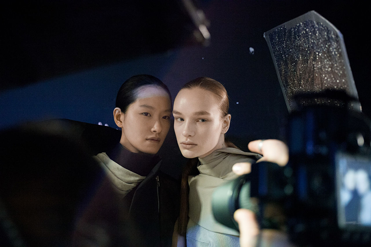 Backstage prior the Rick Owens show as part of the Paris Fashion Week Womenswear Fall/Winter 2015/16 at Palais de Tokyo on March 5, 2015 in Paris, France.