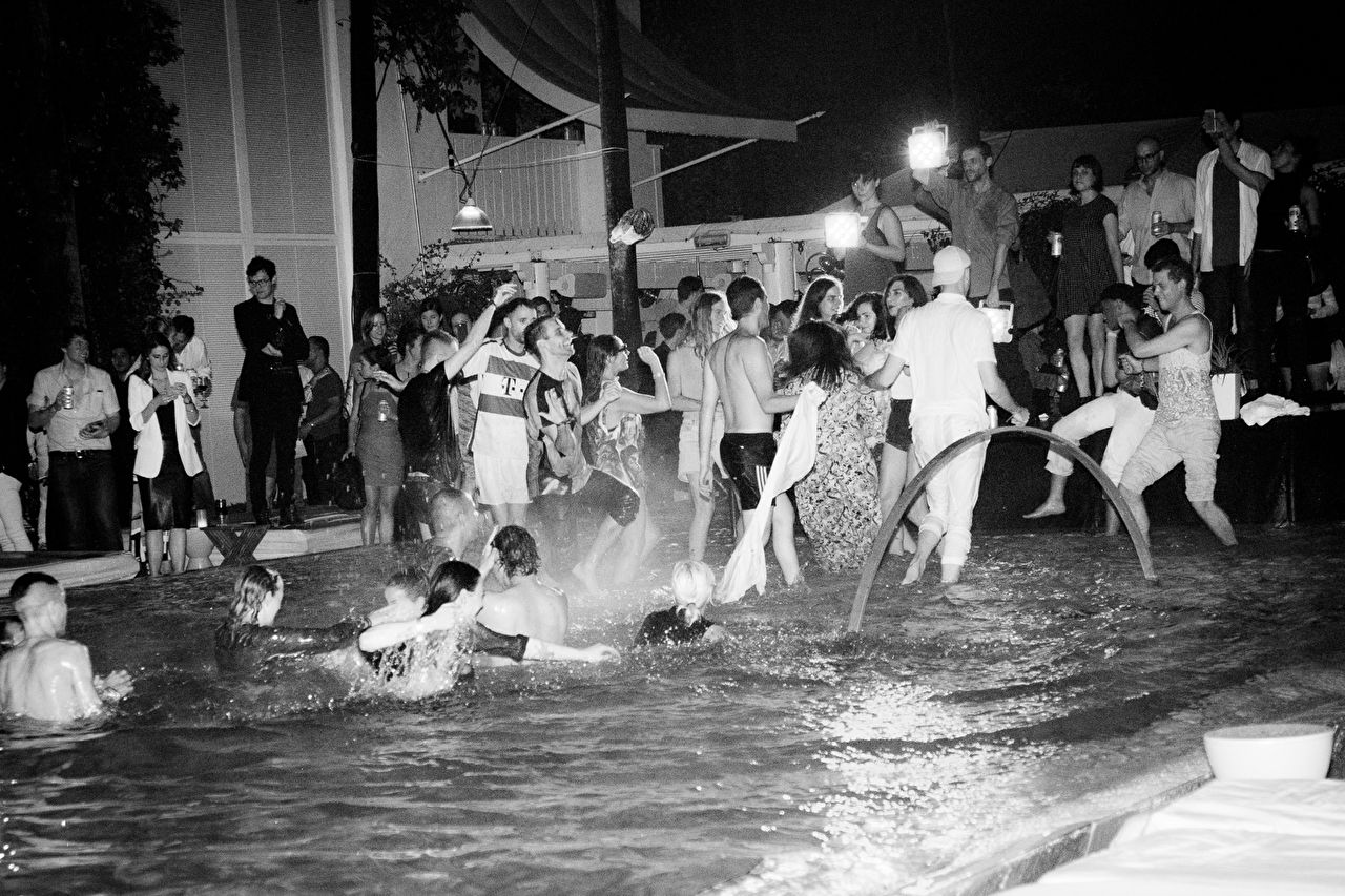 MoMA PS1 Pool Party for 'Greater New York' Exhibition with Eckhaus Latta water performance at the Delano Beach Club during Art Basel Miami Beach 2015 on December 4, 2015 in Miami, Florida.