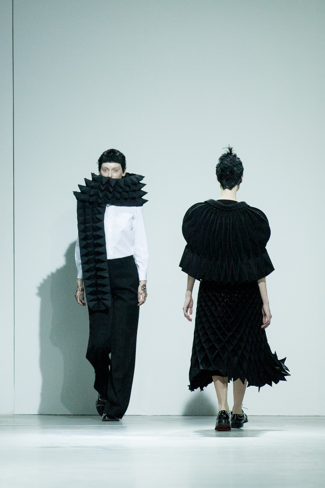 Runway show of Junya Watanabe as part of the Paris Fashion Week Womenswear Fall/Winter 2015/16 at Palais de Tokyo on March 7, 2015 in Paris, France.