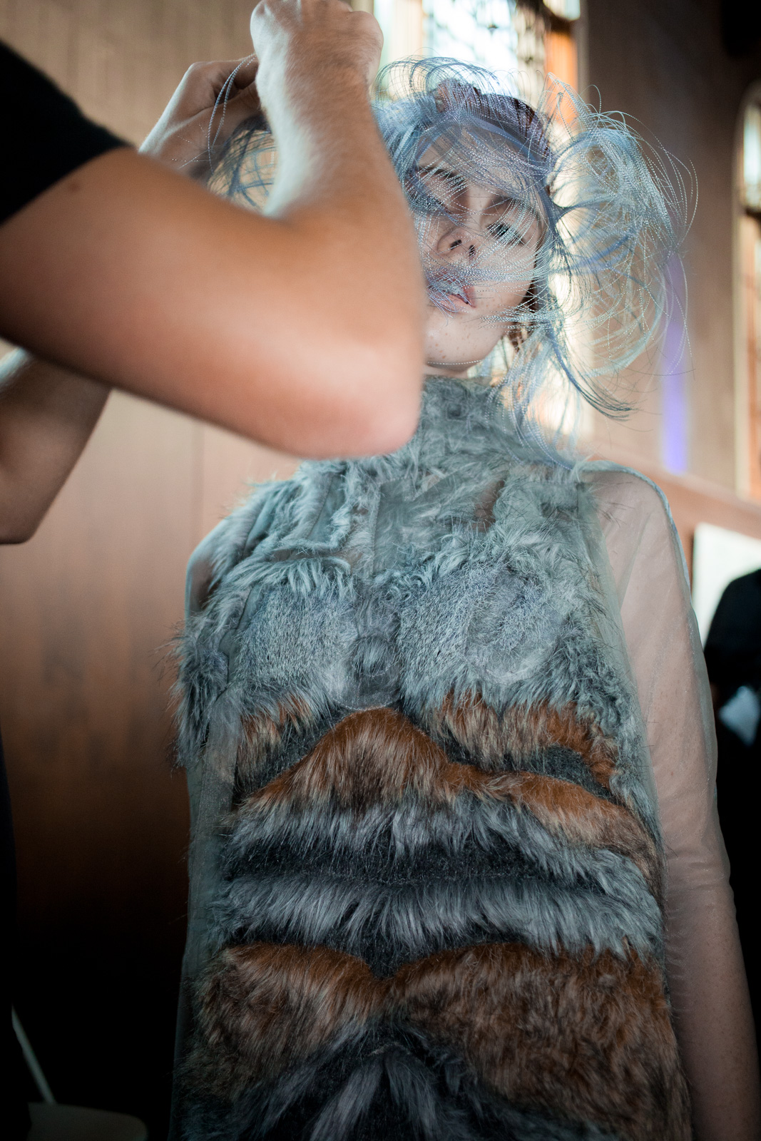 Model getting ready backstage prior the Flora Miranda show as part of the LA Fashion Week Spring/Summer 2016 collections at Union Station on October 10, 2015 in Los Angeles, USA.
