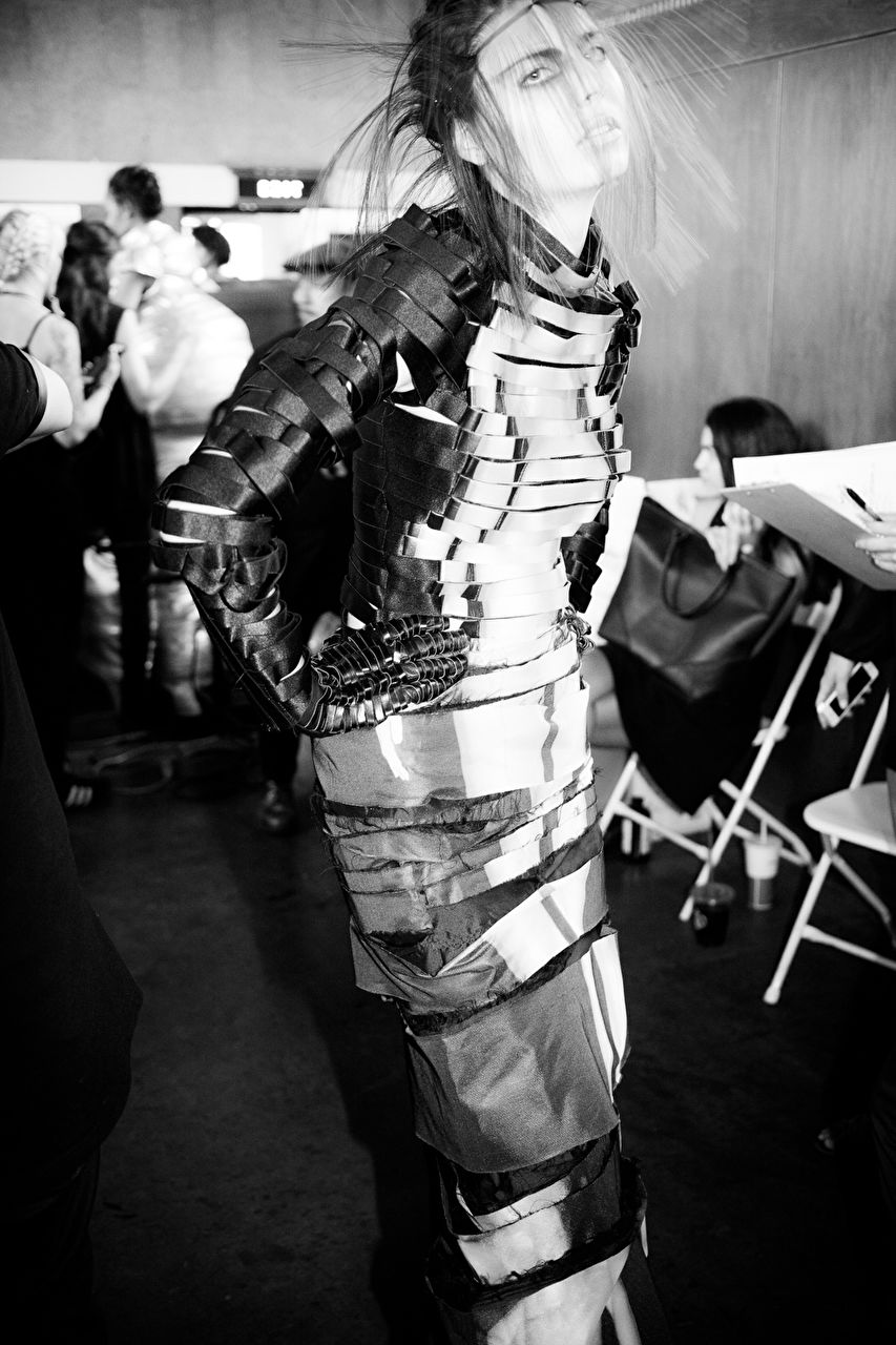 Models getting ready backstage prior the Flora Miranda show as part of the LA Fashion Week Spring/Summer 2016 collections at Union Station on October 10, 2015 in Los Angeles, USA.