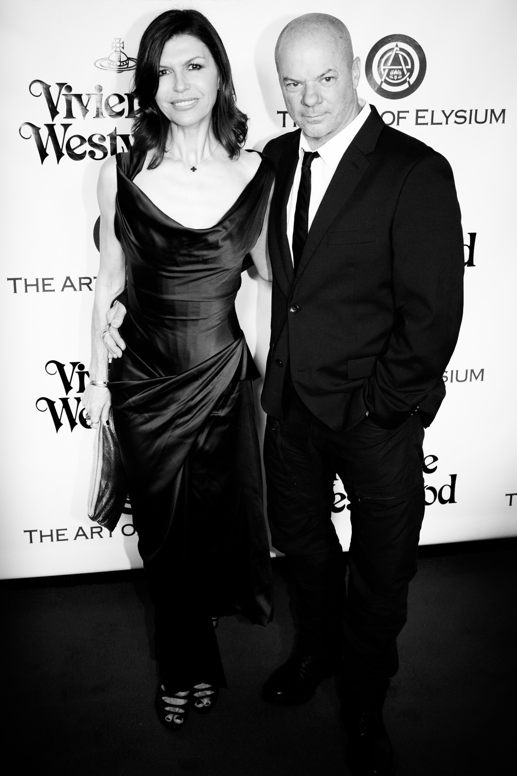 Actress Finola Hughes and artist Russell Young attend The Art of Elysium 2016 HEAVEN Gala presented by Vivienne Westwood & Andreas Kronthaler at 3LABS on January 9, 2016 in Culver City, California.