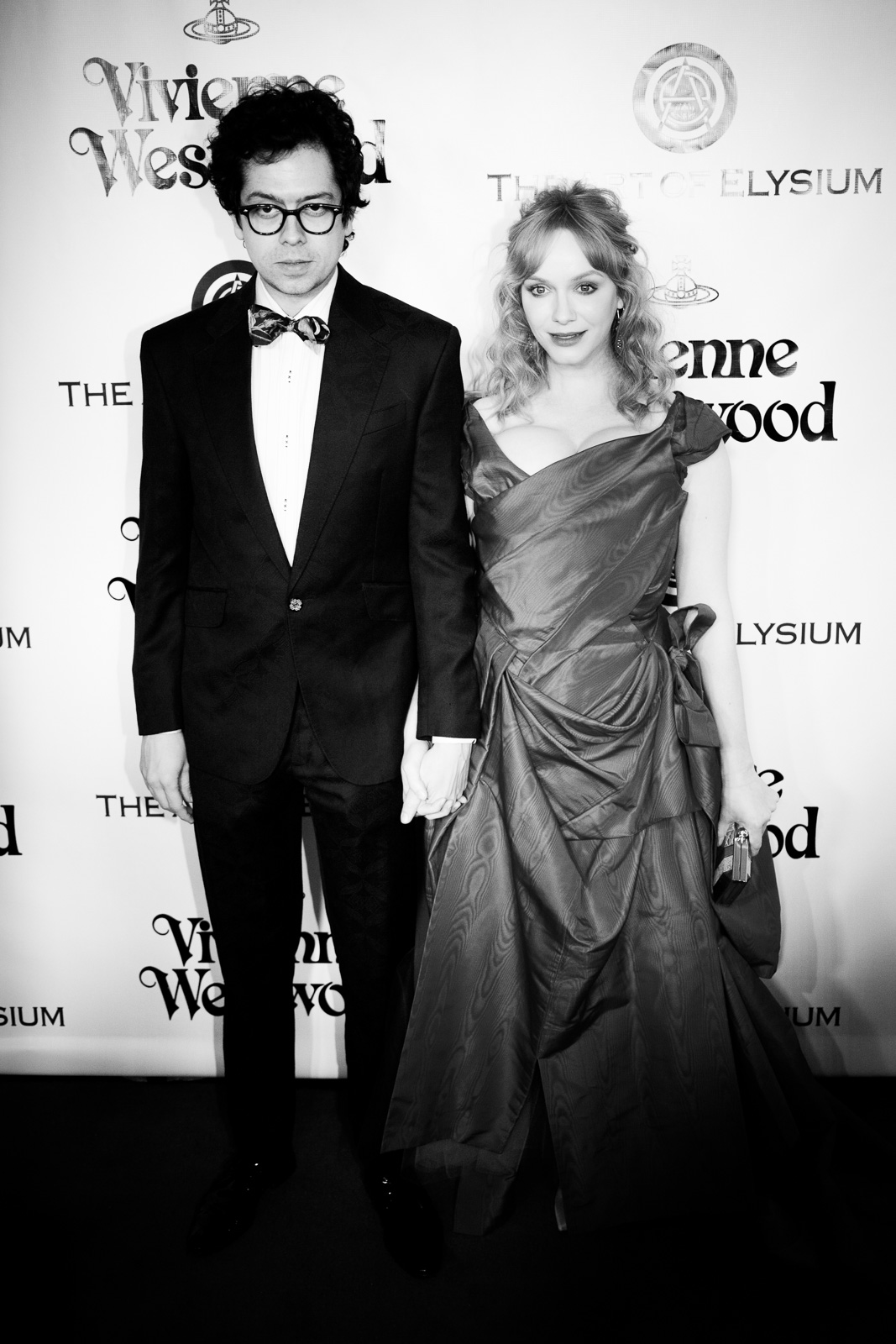 Actor Geoffrey Arend and actress Christina Hendricks attend The Art of Elysium 2016 HEAVEN Gala presented by Vivienne Westwood & Andreas Kronthaler at 3LABS on January 9, 2016 in Culver City, California.