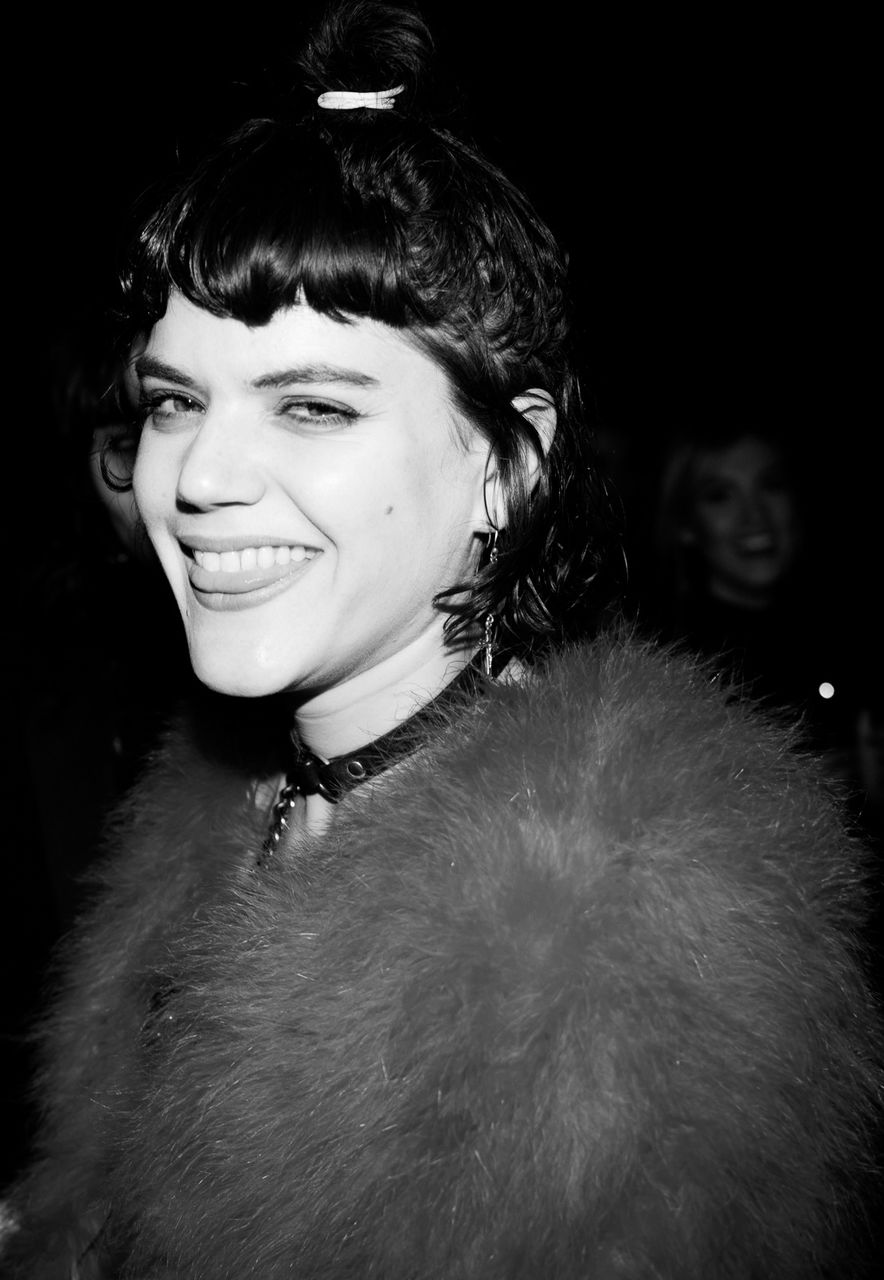 Soko at Saint Laurent FW16 (Hedi Slimane) at the Palladium on February 10, 2016 in Los Angeles, California.