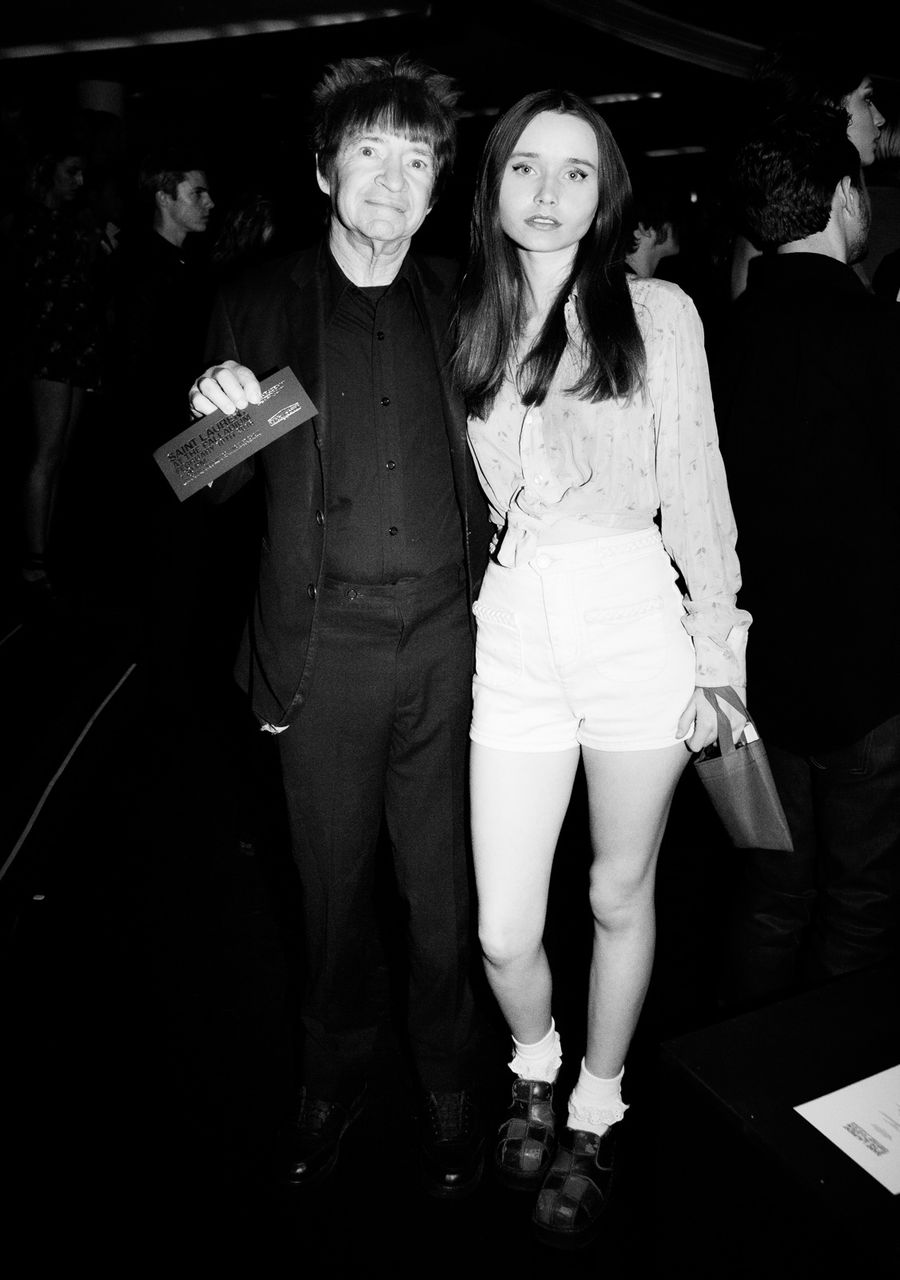 Rodney Bingenheimer and Kansas Bowling at Saint Laurent FW16 (Hedi Slimane) at the Palladium on February 10, 2016 in Los Angeles, California.