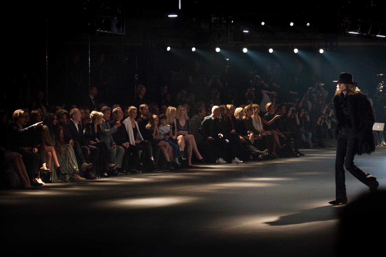 Actor Gary Oldman, singer Alexandra Edenborough, actress Demi Moore, Lisa Bonet, recording artist Lenny Kravitz, CEO of Kering Francois-Henri Pinault, actress Jane Fonda, and Sylvester Stallone in the front row at Saint Laurent FW16 (Hedi Slimane) at