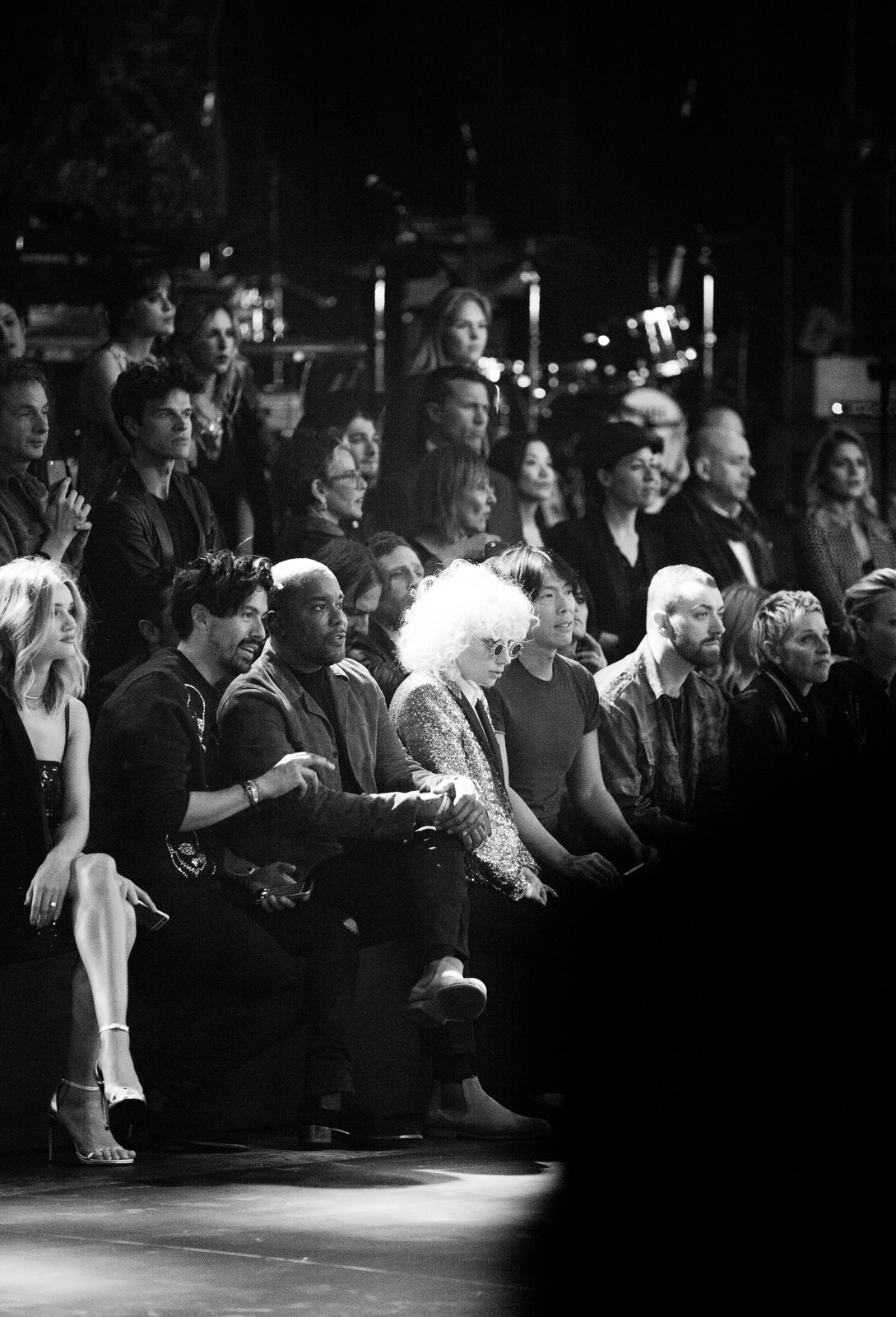 Rosie Huntington-Whiteley, Jahil Fisher, Lee Daniels, Lady Gaga, Sam Smith, Ellen DeGeneres in the front row at Saint Laurent FW16 (Hedi Slimane) at the Palladium on February 10, 2016 in Los Angeles, California.
