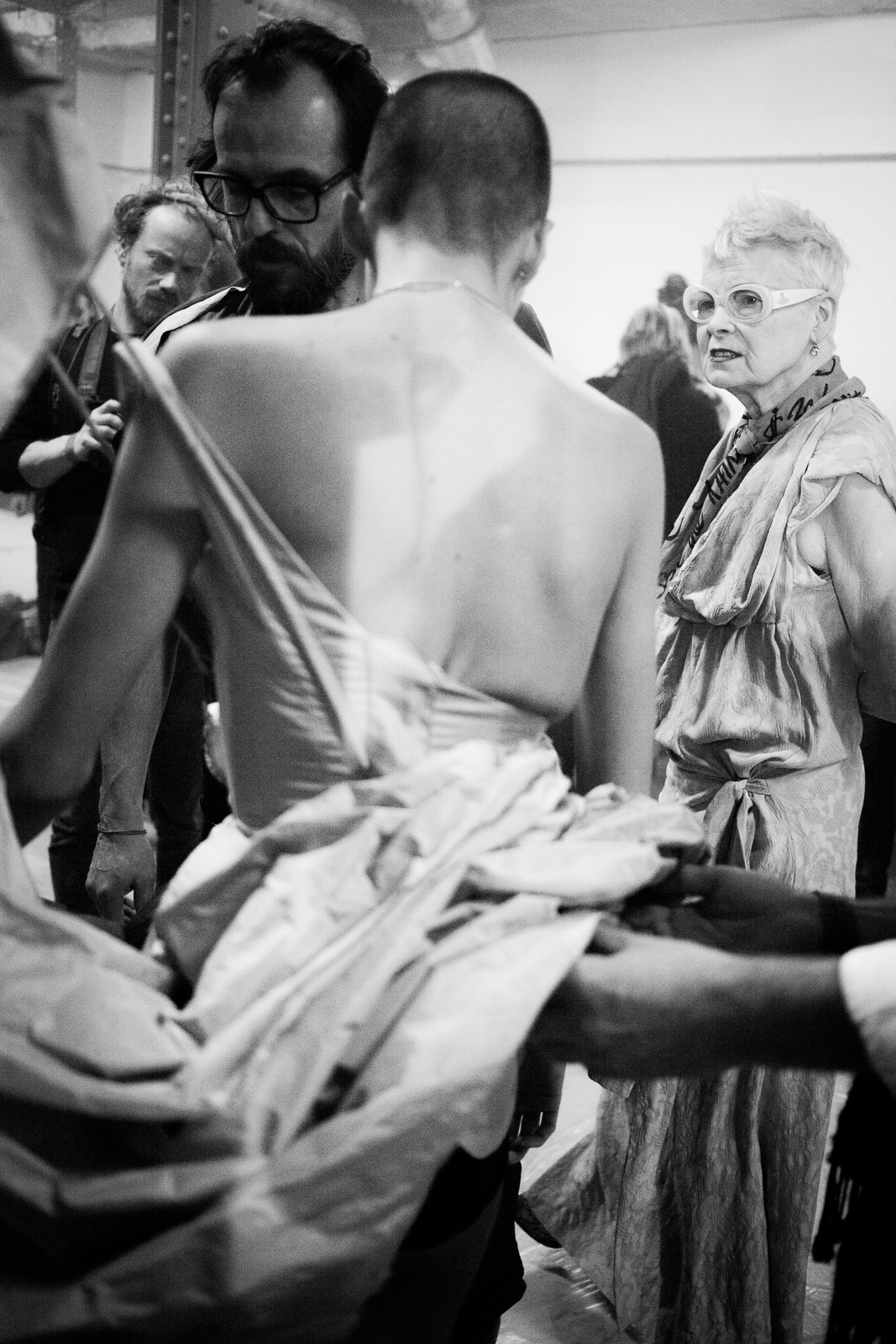 Andreas Kronthaler and Vivienne Westwood backstage before the show as part of the Paris Fashion Week Womenswear Fall/Winter 2015/16 on March 7, 2015 in Paris, France.
