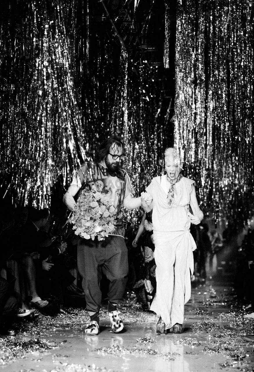 Andreas Kronthaler and Vivienne Westwood walking the runway as part of the Paris Fashion Week Womenswear Fall/Winter 2015/16 on March 7, 2015 in Paris, France.