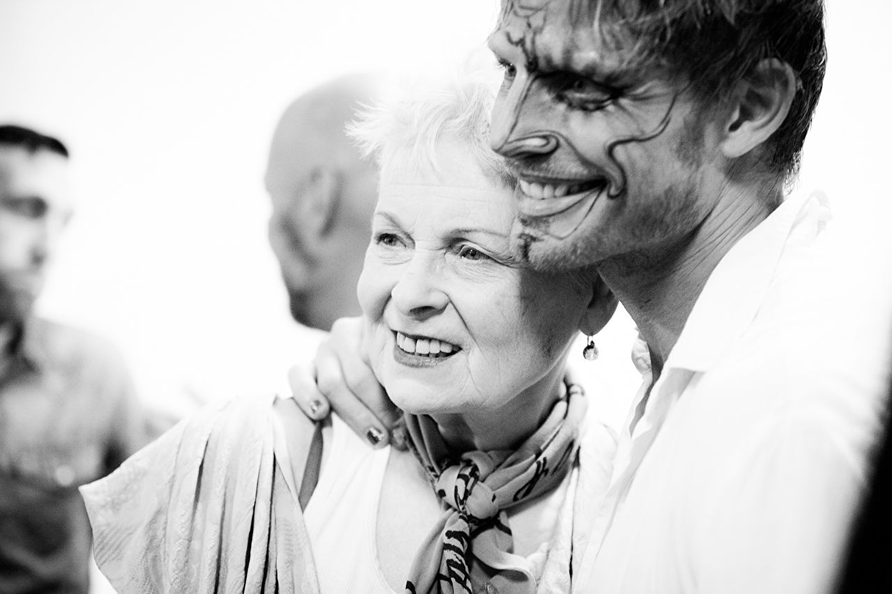 Vivienne Westwood after the show as part of the Paris Fashion Week Womenswear Fall/Winter 2015/16 on March 7, 2015 in Paris, France.