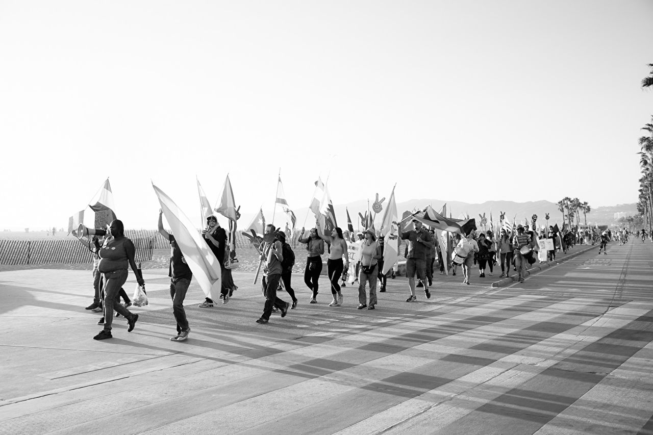 For the fifth straight day, Los Angeles residents march streets in protest against the election of Donald Trump as President. Santa Monica Beach Promenade - November 13, 2016.