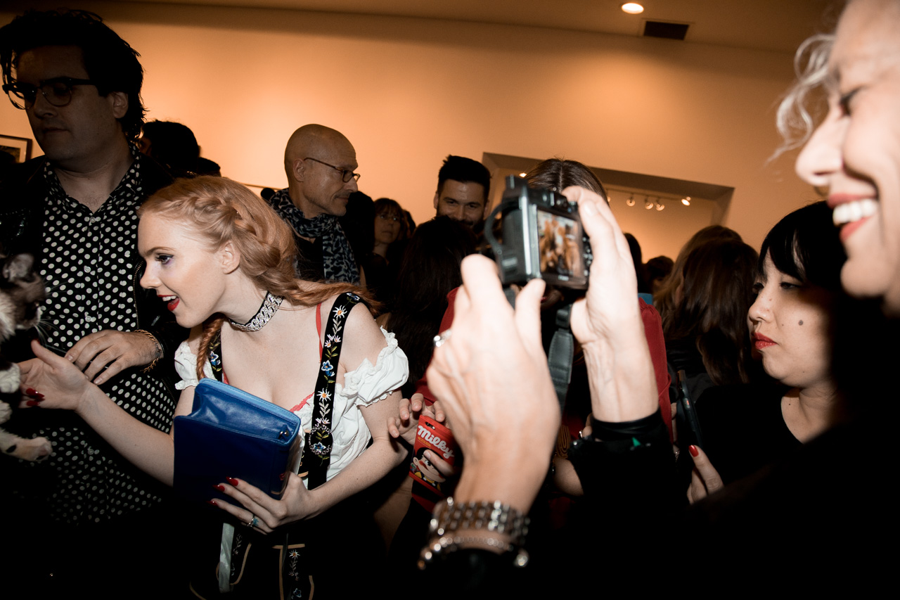 Ellen von Unwerth taking a picture of Grumpy cat at the opening night of Ellen von Unwerth's photography exhibition at TASCHEN Gallery on February 24, 2017 in Los Angeles, California.