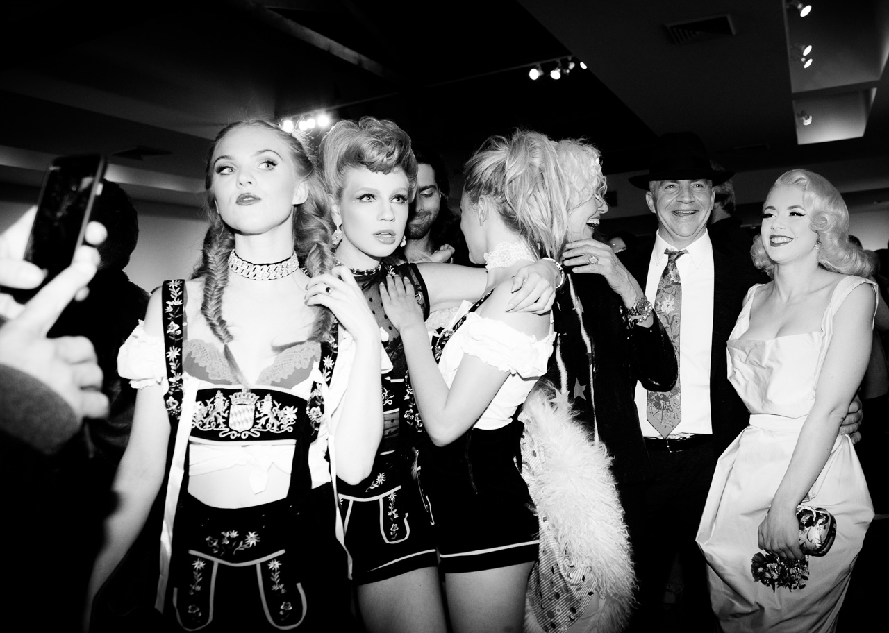 Model, Nikita Andrianova, Athena Pasadena, photographer Ellen von Unwerth, guest, and Mosh at the opening night of Ellen von Unwerth's photography exhibition at TASCHEN Gallery on February 24, 2017 in Los Angeles, California.
