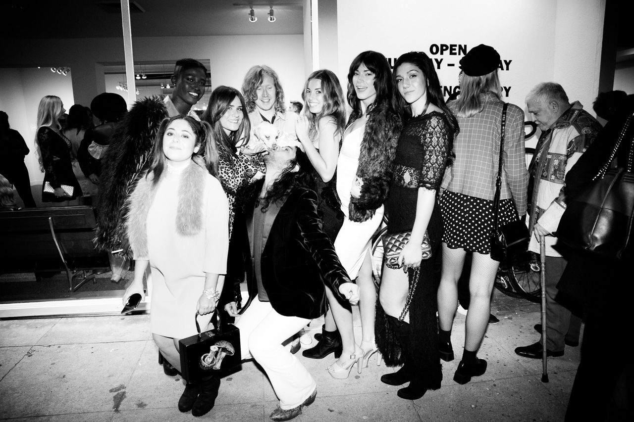 Guests in front of the gallery at the opening night of Ellen von Unwerth's photography exhibition at TASCHEN Gallery on February 24, 2017 in Los Angeles, California.