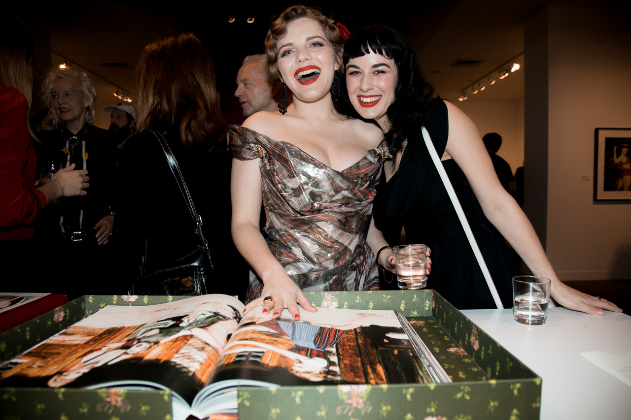 Syrie Moskowitz and Glass Olive at the opening night of Ellen von Unwerth's photography exhibition at TASCHEN Gallery on February 24, 2017 in Los Angeles, California.