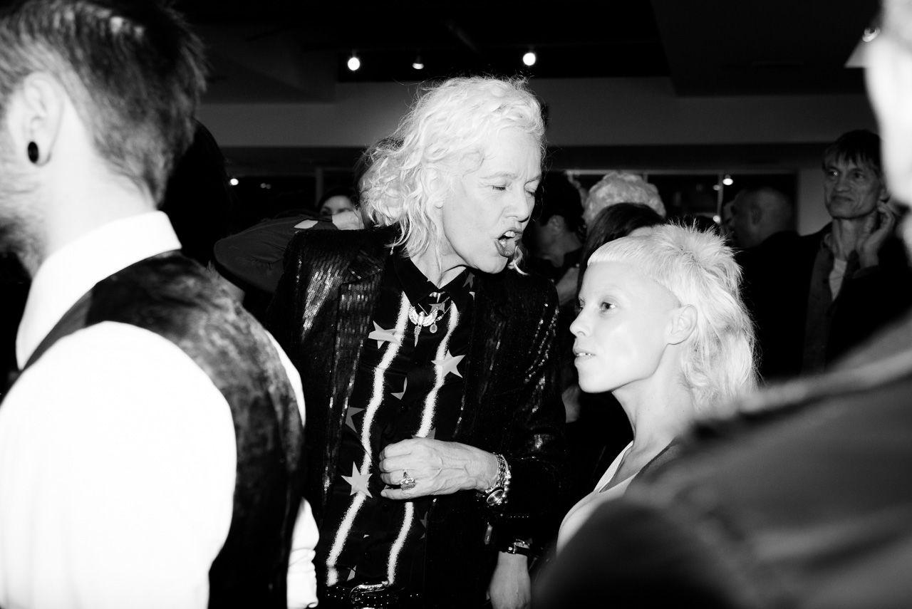 Ellen von Unwerth and Die Antwoord  at the opening night of Ellen von Unwerth's photography exhibition at TASCHEN Gallery on February 24, 2017 in Los Angeles, California.