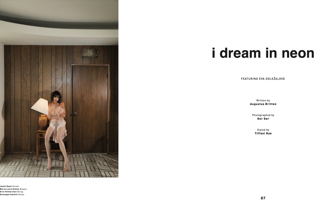 Editorial Spread for Malibu Magazine featuring Model/Actress/Director/Screenwriter Eva Dolezalova.