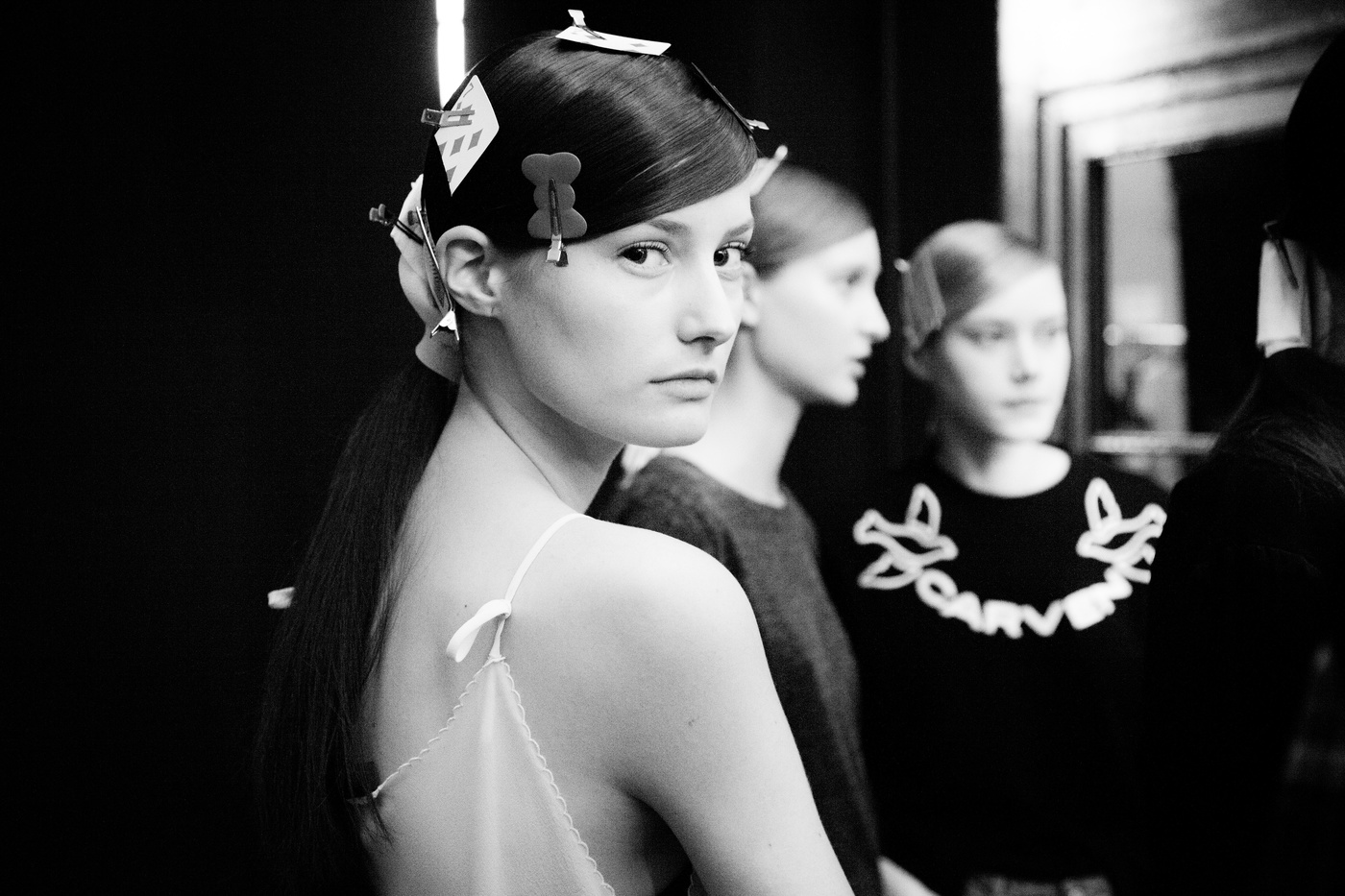 Models getting ready for the runway show backstage at Sharon Wauchob during Paris Fashion Week SS15 photographed by Ger Ger